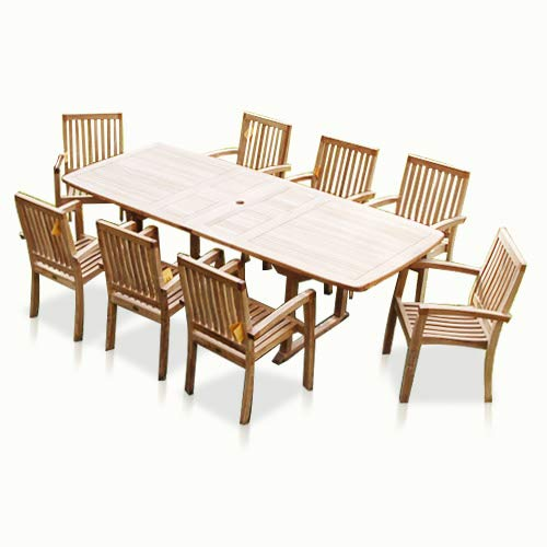 Bayview Patio - New 9pc Grade-A Teak Outdoor Dining Set-one Double Extension Table