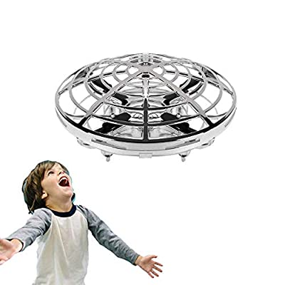 WALLE UFO Drone Hand Drone Flying Ball for Kids Flying Toys Gifts for Boys Girls 4 5 6 7 8 9 10 Years Old (Silver)