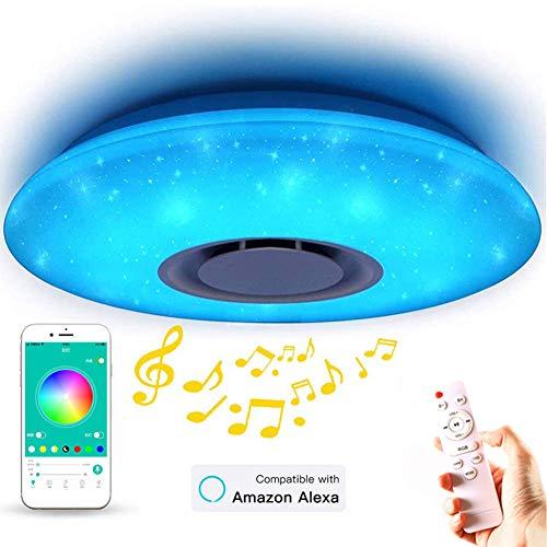 Plafoniera con Smart Alexa Wi-Fi Lampada a LED 36w, Dimmerabile Multi Colore Altoparlanti Bluetooth Telecomando, per La Camera dei Bambini Soggiorno Camera da Letto Sala Pranzo