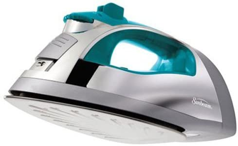 lowest Sunbeam popular Steam Master outlet sale 1400 Watt Large-size Anti-Drip Non-Stick Stainless Steel Soleplate Iron with Variable Steam control and 8' Retractable Cord, Chrome/Teal, GCSBSP-201-000 outlet online sale