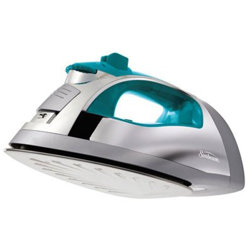Find Discount Sunbeam Steam Master 1400 Watt Large-size Anti-Drip Non-Stick Stainless Steel Soleplate Iron with Variable Steam control and 8′ Retractable Cord, Chrome/Teal, GCSBSP-201-000