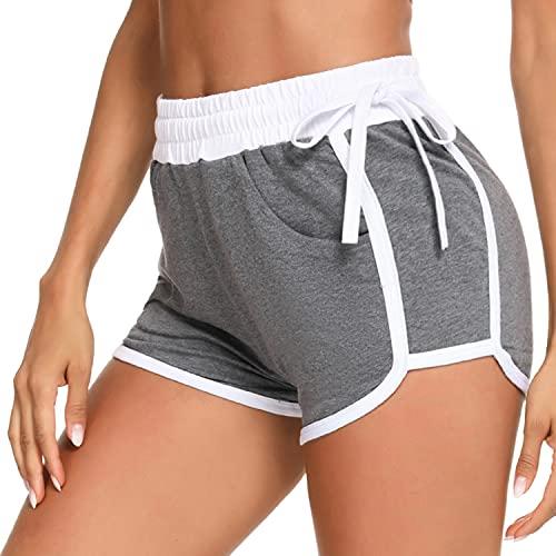 Sykooria Pantalones Cortos Deportivos Mujer, Pantalon Corto con Cordón Ajustable Algodon Casual Fitness Short Pantalon Pijamas Verano para Yoga Jogging Fitness Running