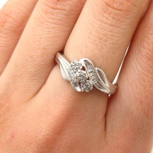 925 Sterling Silver JWBR Kay Jewelers Real Diamond Bypass Design Ring Size 6.5 Halloween & Christmas Gift