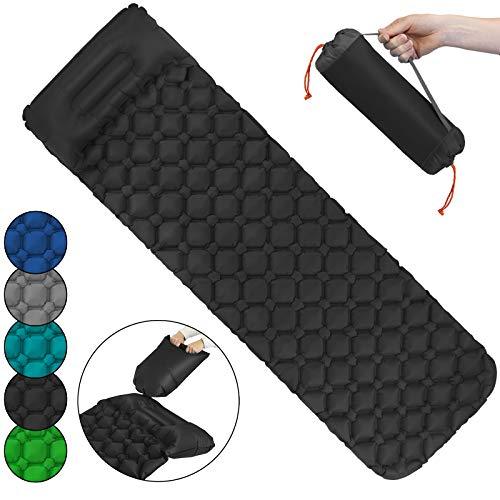ALPIDEX Isomatte Camping Aufblasbar mit Kissen, Luftsack zum Aufpumpen Ultraleichte rutschfeste Schlafmatte Luftmatratze, Farbe:Black