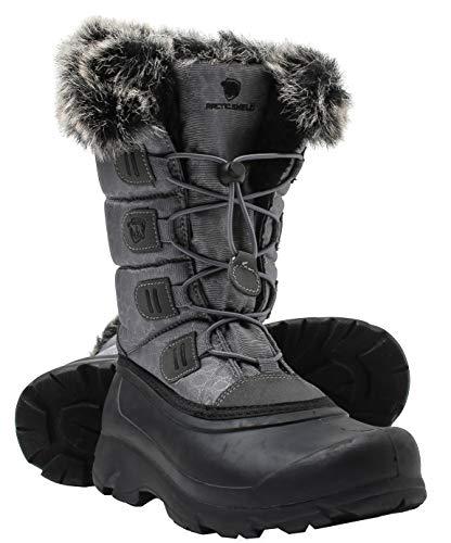 ArcticShield Women's Polar Waterproof Insulated Durable Winter Snow Boots (6, Grey)