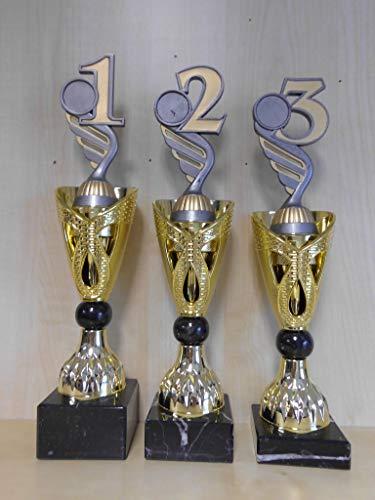 Pokal - Pokale 3er-Serie - (Gr. 30, 31, 32cm) - (Gold/Silber) - Turnier - Trophäe - Angeln, Dart, Fußball, Reiten, Laufen, Karate, Volleyball, Tennis, Kegeln, Bowling, usw. - mit Gravur - (A326) -