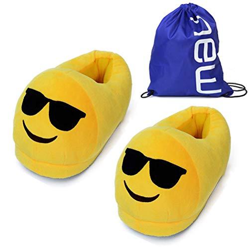 BP@ Hausschuhe Plüsch Indoor Hause Pantoffeln Winter für Männer und Frauen Slipper Emoticon weiches Spielzeug Emoji Hausschuh (cool)