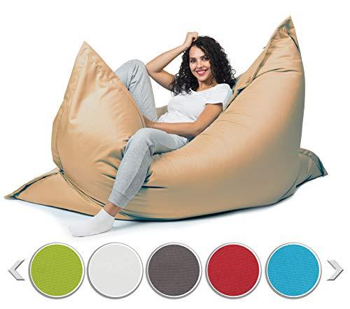sunnypillow XL Sitzsack, Riesensitzsack Outdoor & Indoor 100 x 150 cm mit 140L Styropor Füllung Sessel für Kinder & Erwachsene Sitzkissen Sofa Beanbag viele Farben und Größen zur Auswahl Beige