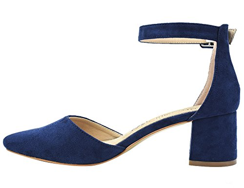 Greatonu Damen Sandalen Velour Knöchelriemchen Blockabsatz Sandalen Blau Größe 39EU - 3