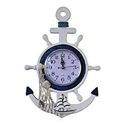 MagiDeal Sea Theme Nautical Anchor Ship Steering Wheel Fishing Net Hanging Wall Clock