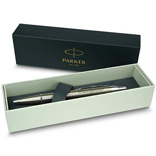 polar-effekt Parker IM Druckkugelschreiber mit Gravur - Metall-Gold - Großraummine blauschreibend - inkl. Geschenk-Etui - Deutsche Herstellung - hochwertig und edel - perfekte Geschenkidee