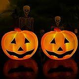 KingSom Halloween Zucca luminosa, IP67 Impermeabile Luce Esterno,Mini Luce Notturna di Zucca Smorfia con Illuminazione Colorataper Galleggiante per Vasca da Bagno,Decorazioni Halloween e Natale(2PCS)