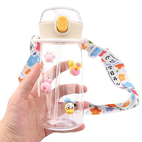 Motivacional Botella de agua de paja de 450 ml con pajita Botella de agua a prueba de fugas Botellas deportivas sin Bpa con boquilla abatible y tapa a prueba de fugas deportes, ciclismo, sende