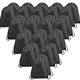 Non-Woven Drawstring Bag 30 Pack Black Backpacks with Drawstring Closure 13.5 x 16-Inch Bulk for Children, Party Favors, Storage, Holding Stuff DIY Applicable