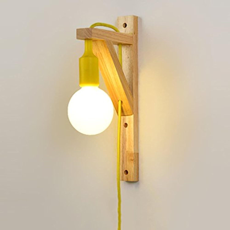 & Wandleuchten Schlafzimmer Wandleuchte Moderne 5 Watt Nachttischlampe Wohnzimmer Bad Treppe Gang Kreative LED Holz Wandleuchte (Farbe   Wei)
