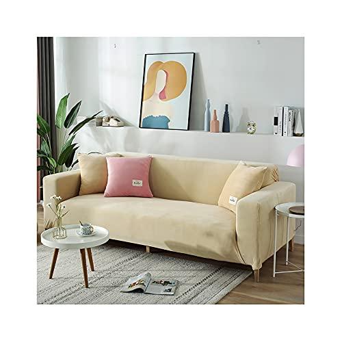QSMGRBGZ Sofabezug, Massivfarbe Couch Sofa Cover Samt wasserdichte, rutschfeste Weiche Elastische Bodenmöbelschutz Für Kinder Katzenhund,Beige,1seat 90~140cm