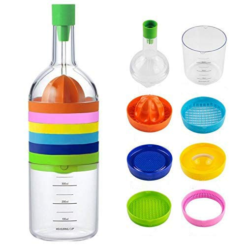 Kitchen Tool Bottle 8 in 1 Kitchen Tool Set - Funnel Juicer Lemon squeezer Spice grater Egg masher Cheese grater Egg seperator Measuring cup Can opener