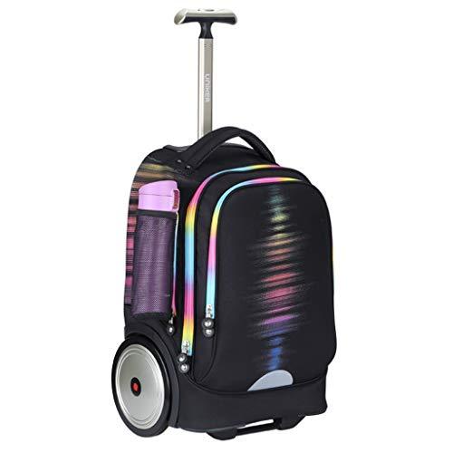 Mochila escolar negra con ruedas tamaño cabina para niños, hombres y mujeres, bolsa de viaje y trabajo, para portátil de 15,6 pulgadas, Black (Negro) - JX-35