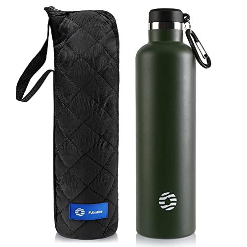 FEIJIAN FJbottle 750/1000ML Vakuum Isolierte Edelstahl Trinkflasche Wasserflasche BPA-frei auslaufsichere Sportflasche Thermosflasche mit Karabinerhaken für Sport/Outdoor/Camping/Fitness/Yoga/Schule