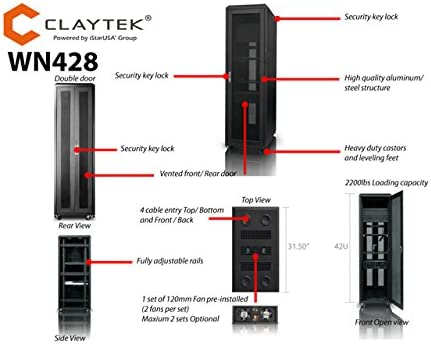 Claytek Server Rack WN428 42U 800mm Depth Network Rack Mount Server Cabinet