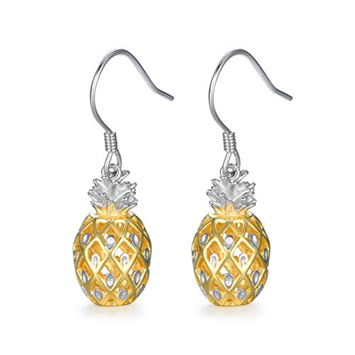Sterling Silver Cute Pineapple Earrings Hypoallergenic Solid Yellow Gold Plated Dangle Drop Earrings Summer Vocation Hawaiian Party Jewelry for Women