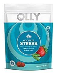 OLLY GOODBYE STRESS GUMMY: Calm your mind and counter bad vibes with the help of our strawberry and lemon verbena flavored gummy supplements. This stress support zen blend uses GABA and L-Theanine to help combat acute effects of stress* KEEP CALM & S...