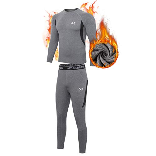 Men's Thermal Underwear Set, Sport Long Johns Base Layer for Male, Winter Gear Compression Suits for Skiing Running Grey