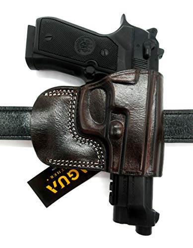 HOLSTERMART USA TAGUA Right Hand OWB Dark Brown Leather Yaqui Style Belt Slide Holster for Beretta 92FS, 92 Compact, 96, 92A1, Taurus PT92, PT99, PT100, PT101