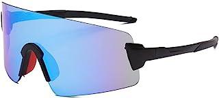 QWKLNRA - Gafas De Sol para Hombre Lente Azul Marco Negro Polarised Sports Sunglasses Gafas De Sol Deportivas Deportivas Road Bicycle Glasses Cycling Protection Gafas Gafas De Sol para Bicicletas