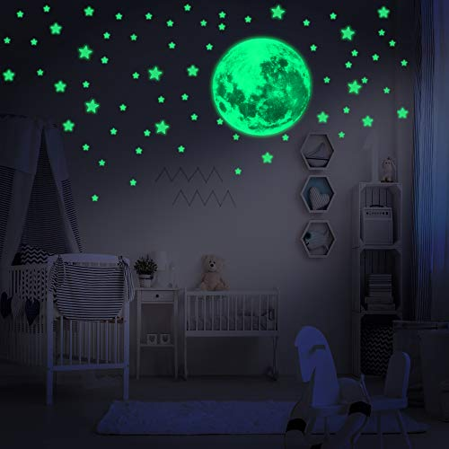 LUMOSX 234 pcs Assorted Glow in The Dark Stars for Ceiling for Kids Room Decor with Realistic Full Moon & Crescent Moon - Easy to Apply Adhesive Glowing Stars Decals for Kids Wall Decor & Ceiling Decor