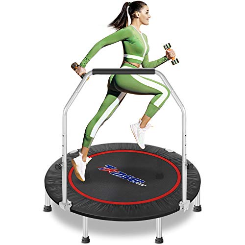 """tomser 43'' Silent Foldable Trampoline, Exercise Fitness Trampoline with Higher 50"""" Adjustable Handrail Fitness Rebounder with Carry Bag Mini Trampoline for Kids Adults Indoor Max Load 450lbs"""