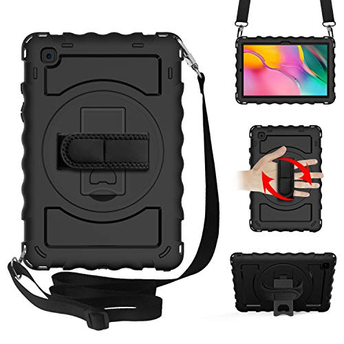 WHWOLF Rugged Cover for Samsung Galaxy Tab A7 2020 Case 10.4-inch SM-T500/ SM-T505 Shockproof Heavy Duty Full Body Protective Tough Bumper Shell with Kickstand, Shoulder Strap, Handle Grip -black