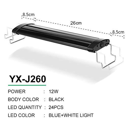 WML-LAMP 21-45 cm aquarium LED-verlichting aquarium licht lamp met uittrekbare houders witte en blauwe LEDs geschikt voor aquariumverlichting aquarium, Yx J260 Black Body