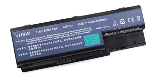 vhbw Li-ION Batterie 4400mAh (10.8V) pour Ordinateur, PC Acer Aspire 5739G, 5930G, 5940G, 6530, 6530G, 6930, 6930G, 6935, 6935G comme AS07B32, AS07B72