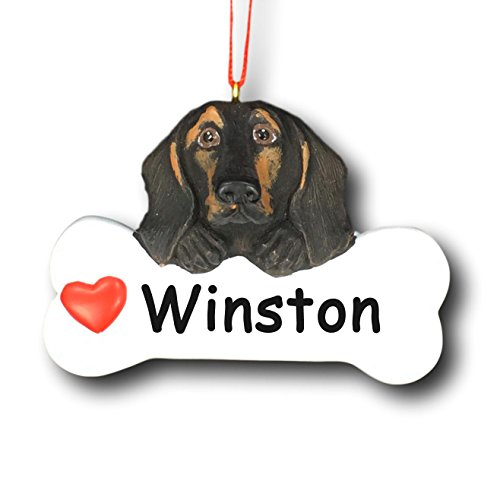 Personalized Dachshund Christmas Tree Ornament - Black and Tan Pet Wiener Dog Gift Bone with Red Heart Detail - Free Custom Name