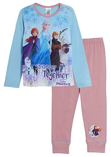 Pigiama Disney Frozen 2, per bambine, lungo; disegni di Elsa, Anna, Olaf; biancheria da notte Più forti. 9-10 Anni