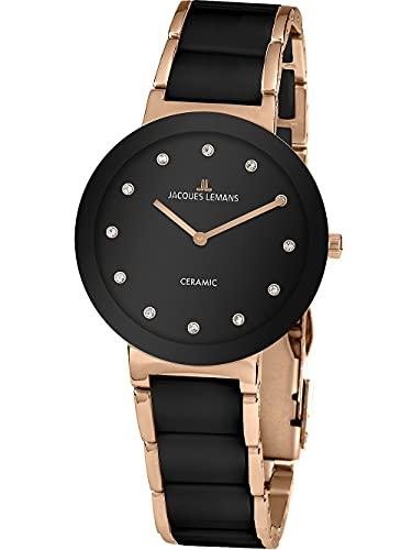 Jacques Lemans Damen-Uhren Analog Quarz One Size Schwarz 32016866