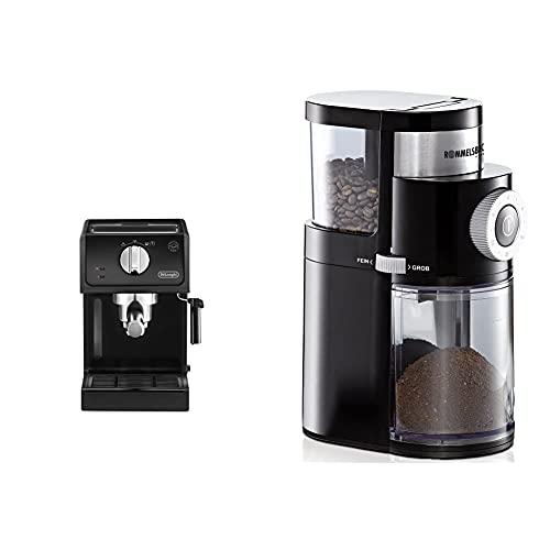 De'Longhi ECP 31.21 Espresso Siebträgermaschine | Siebträgerhalter mit Aluminium Finish | Milchschaum Düse & ROMMELSBACHER Kaffeemühle EKM 200 – aromaschonendes Scheibenmahlwerk, 110 Watt, schwarz
