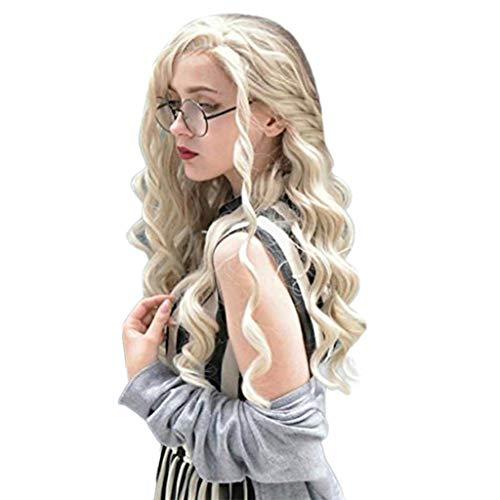 LUBITY Perruque de Dentelle de La Mode des Femmes Avant Cheveux Synthétiques Beige Longues Perruques Vague Boucles Perruque