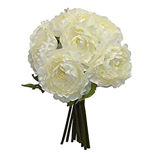 IVORY CREAM Ranunculus Bridal Bouquet Wedding Centerpieces Decor Silk Flowers