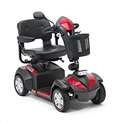 Top speed of 6mph and range of 30 miles Single rear view mirror Indicators and front LED headlights Powerful 470W motor & batteries Included Seat swivels and slides forwards and backweards