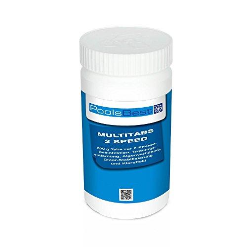 POOLSBEST® 1 kg Multitabs 2 Speed 6 in 1 - Chlortabletten für Pool mit 2 Phasen-Desinfektion (schnell- und langsamlöslich)