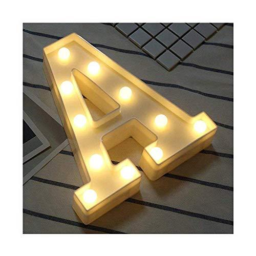 LED Brief Lichter Alphabet Kunststoff Lampe Warm White Buchstaben Lichter Dekoration Weiße Buchstaben Lichter Festzelt Licht, für Party Hochzeit Empfänge Home, Batteriebetrieben, von DUBENS (A)
