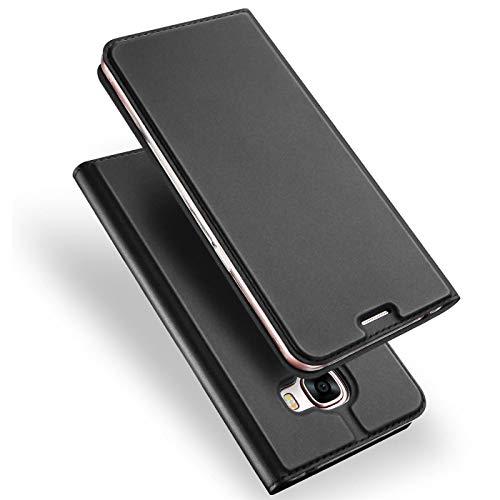 Verco Handyhülle für Galaxy A3 (2017), Premium Handy Flip Cover für Samsung Galaxy A3 Hülle [integr. Magnet] Book Hülle PU Leder Tasche [A3 A320], Schwarz