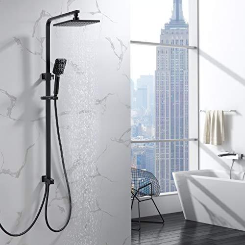 Lonheo Quadrat Duschsäule Duschsystem ohne Armatur, Schwarz Regendusche Duschset mit Kopfbrause eckig 20x20cm und 3 Strahlarten Handbrause, Höhenverstellbar Duschstange für Dusche und Badewanne