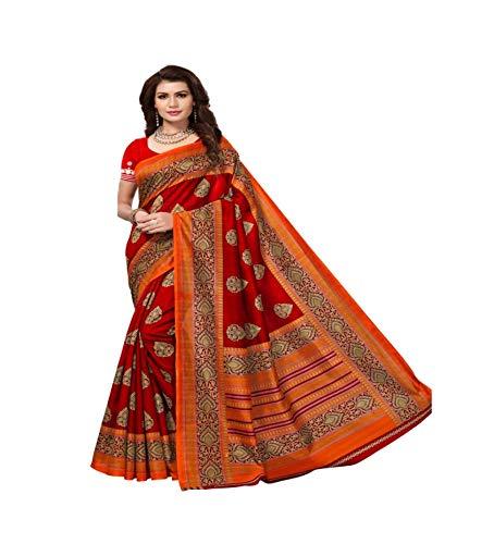 Indian bollywood wedding saree indisch Ethnic hochzeit sari new kleid damen casual tuch birthday crop top mädchen cotton silk women plain traditional party wear readymade Kostüm (Red)