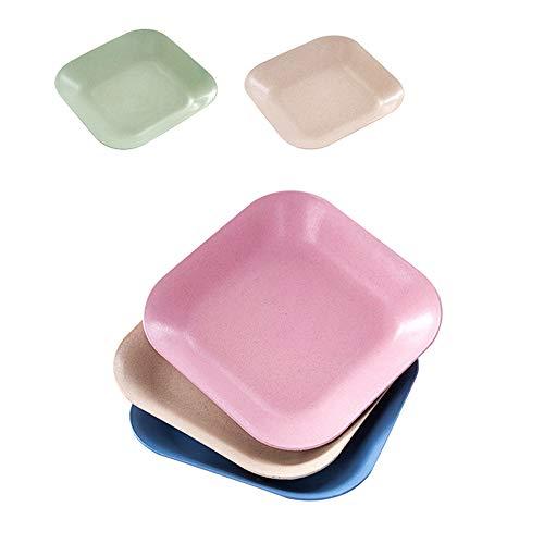 Assiettes à dîner en paille de blé de 18 cm, allant au four à micro-ondes et au lave-vaisselle, salades/gâteaux légers sans BPA, anti-tombés, non toxiques (Carré, 4 couleurs)