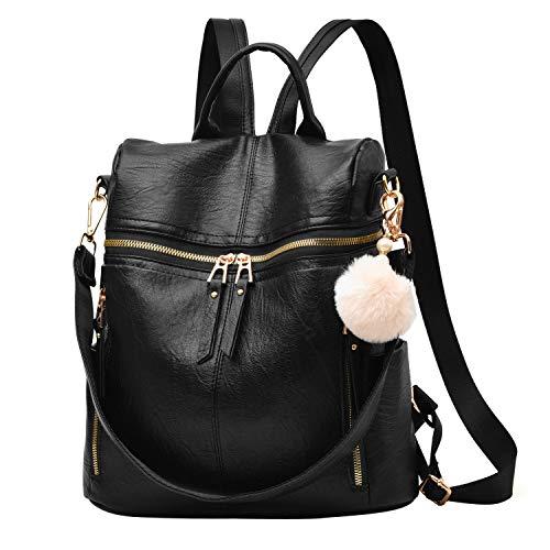 Backpack Purse for Women Large Capacity Multipurpose Travel Bag Leather Backpack Shoulder Bag Girls Backpack Schoolbag,Black