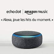 Echo Dot (3ème génération), Tissu anthracite + 1 mois d'Amazon Music Unlimited pour 19,98 €