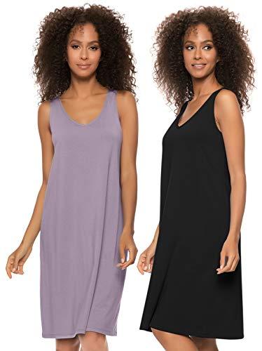 Felina | Cotton Modal Sleep Dress | 2-Pack (Sea Fog Black, Large)